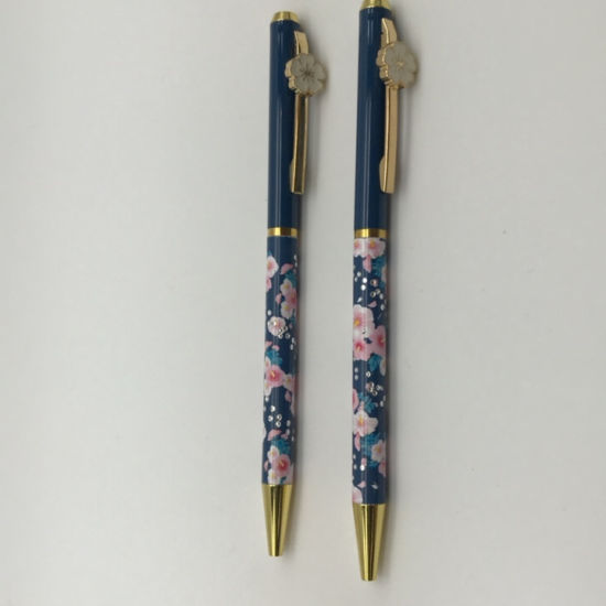 New Flower Clip Metal Pen with Logo Printed or Laser Office Supply Student Stationery Promotional Ball Point Pen