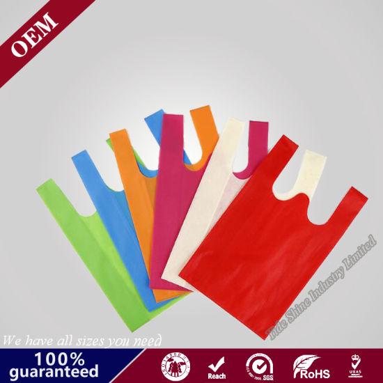 Eco-Friendly Reusable W Cut Nonwoven Vest Bag Non Woven T Shirt Bag with Free Sample