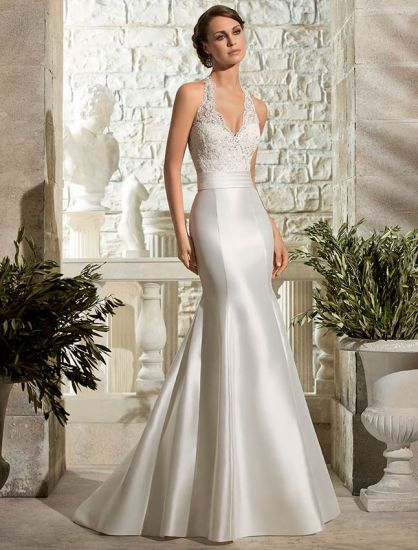 New Arrival Halter Lace Wedding Dress Satin Bridal Gown