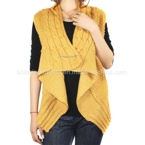 7419e3f3f25264 Ladies Knitted Sleeveless Cardigan Sweater for Casual (12AW-401) pictures &  photos