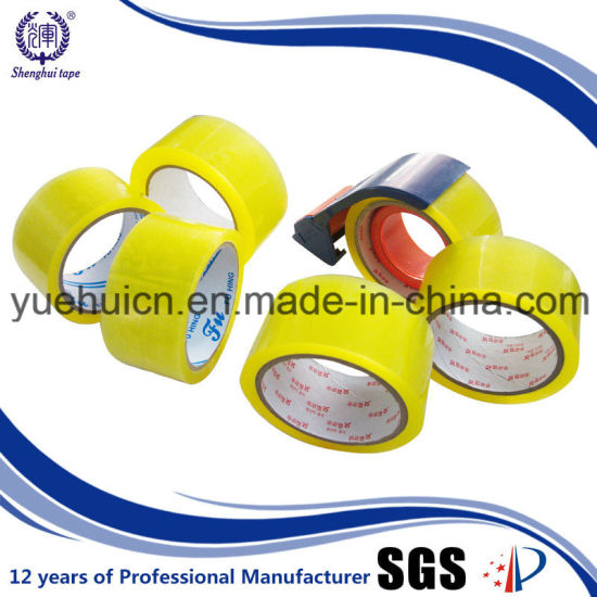Pressure Sevsitive Easy Cut Yellowish Packaging Tape pictures & photos