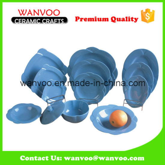 Wholesale Orange Color Glazed Dinnerware Set for Kitchen Banquet pictures & photos