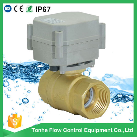 "Dn25 2 Way NSF61 Ss304 12V 1"" Mini Electric Water Motorized Ball Valve pictures & photos"