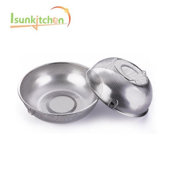 22.5stainless Steel Colander Kitchen Strainer/Washing Bowl for Vegetables/Fruit/Rice/Grains