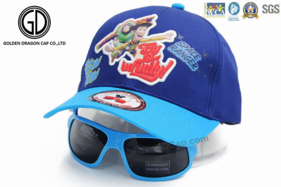 5004b51afdf Quality Cartoon Rubber Patch Baseball Baby Kids Cap with Sunglasses