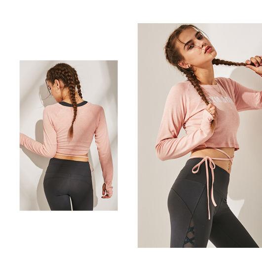 Europe Hot Leisure Slim Yoga Women Sportswear Long Sleeves T-Shirts