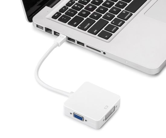 Mini Displayport (Thunderbolt 2 Compatible) to HDMI DVI VGA Splitter Male to Female Adapter Converter pictures & photos