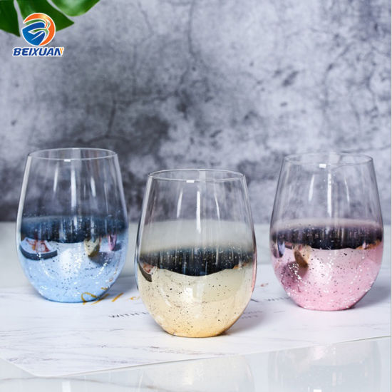580ml Wholesale Electroplate Pink Blue Gold Stemless Wine Glass Personalised Shiny Luster Stemless for Birthday Party Home Usage