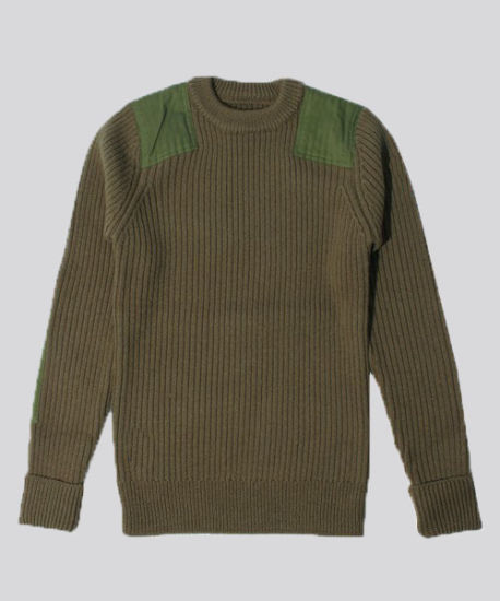 Cashmere Blended Knitting & Woven Patch Round Neck Sweater Men's Clothes