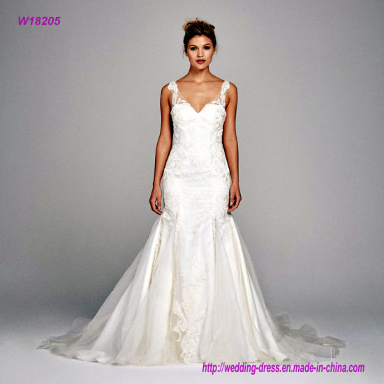 China Silk Organza V Neck With Embroidery Lace Wedding Dress