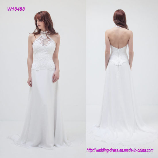 China Decorated in Stunning Swiss Guipure Lace Halter-Neck Wedding ...