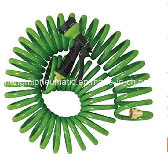 3/8'' Heavy-Duty EVA Recoil Garden Hose with 7-Pattern Spray Nozzle, Green, 50 Foot