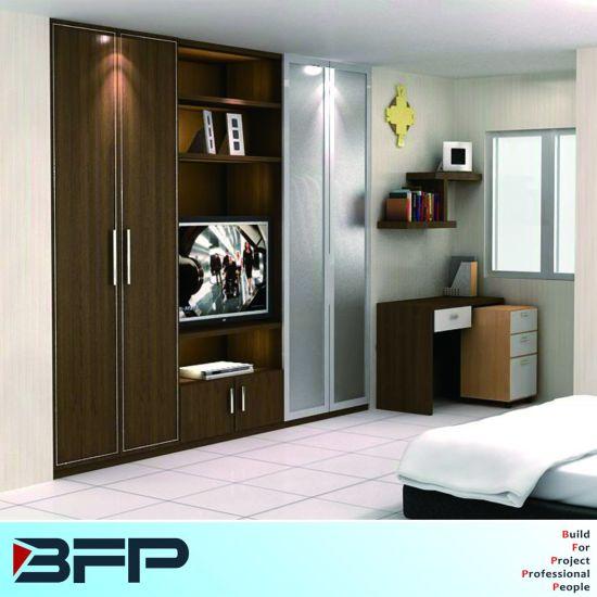 Wooden U0026 Glass Door Wardrobe TV Open Shelves