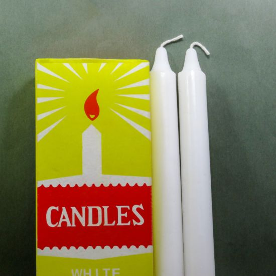 Unscented White Paraffin Wax Household Candle with Box Packing