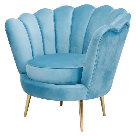 Modern Velvet Fabric Accent Chair Armest Stainless Steel Leg