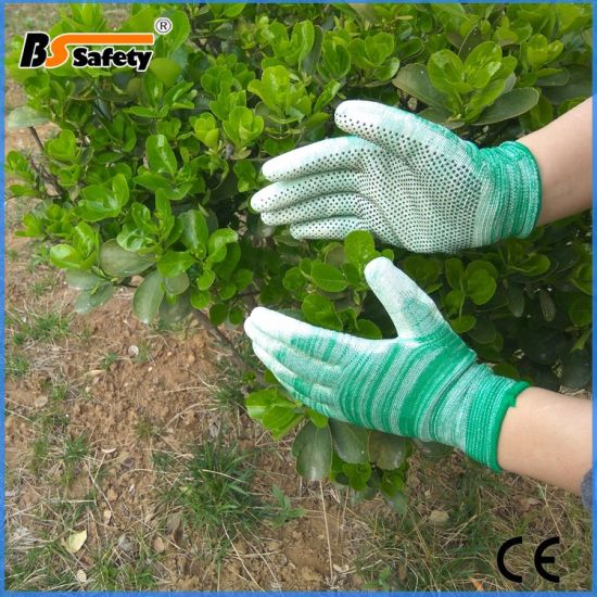 Wave Line Green PU Coated Garden Woman Work Safety Dotting Gloves
