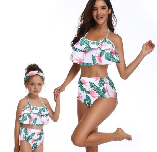 a3c7b57a8a 2019 Printed High Waist Bikini Ruffle Mother Daughter Swimwear Swimsuit