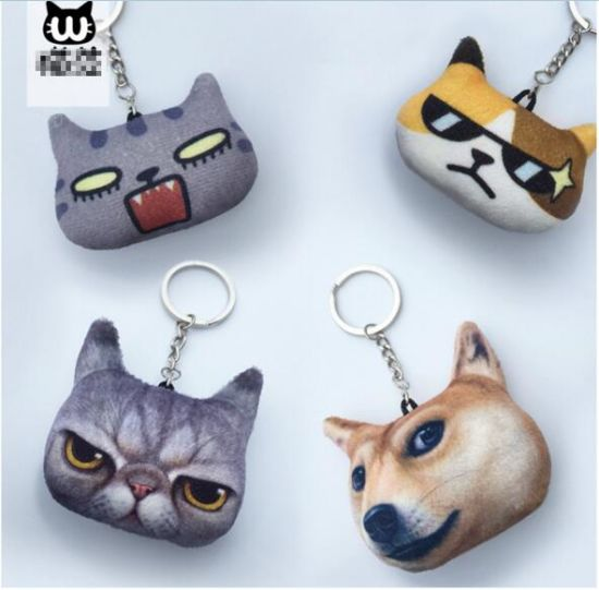 Lifelike 3D Printed Animal Head Plush Keychain pictures & photos