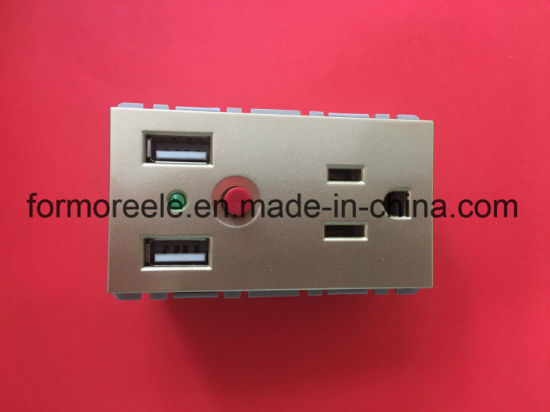 American USB Wall Socket/American Type 2 Gang Electrical Outlet with 2 USB Ports/ Us Power Socket/