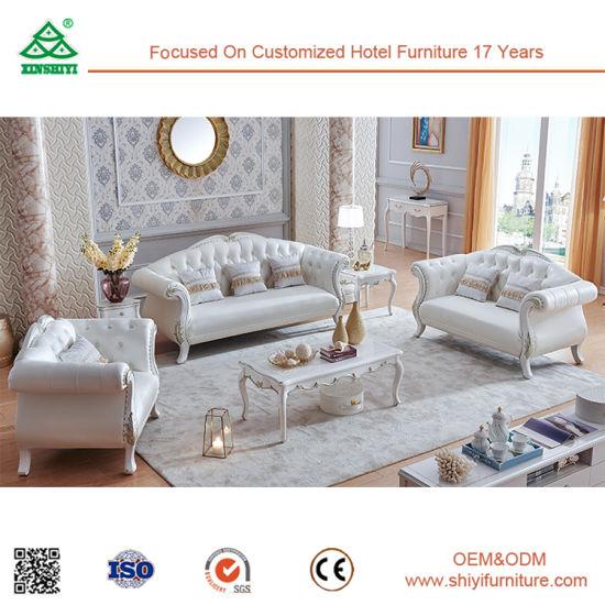 Wood Factory Design Modern White Leather Sofa