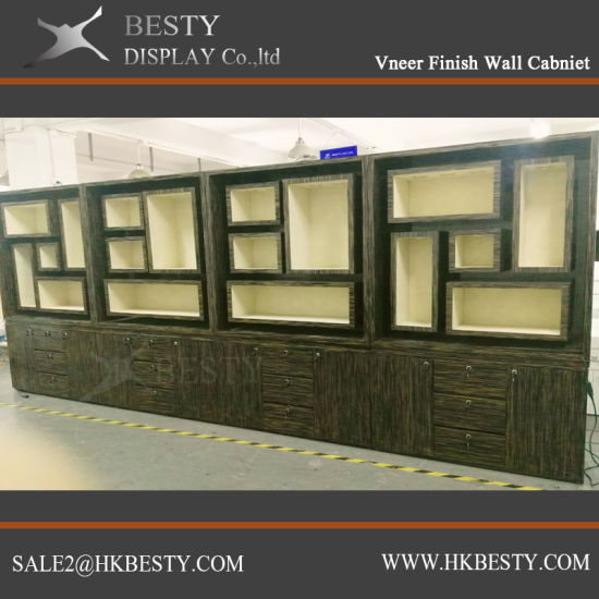 Veneer Finish Wall Cabinet Jewelry Display Showcase