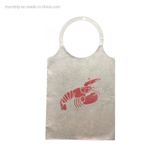 Oilproof Waterproof Disposable Print Sea Food Paper Apron with Filmed