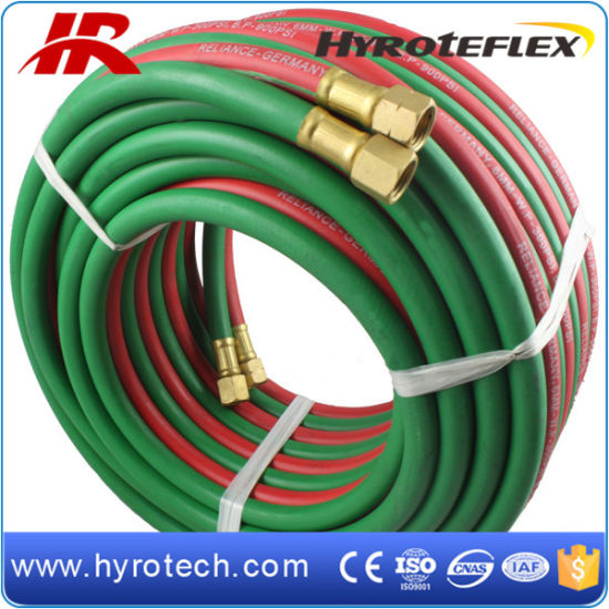 High Quality Red and Green Color Twin Welding Hose with Brass Fittings