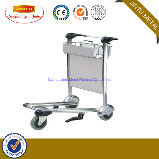 Airport Push Luggage Baggage Trolley Cart with Brake Stainless Steel