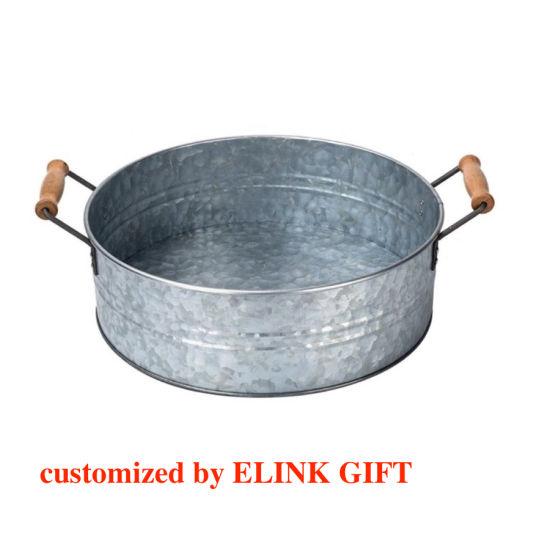 Vintage Galvanised Metal Beer Bucket with Rope Handles