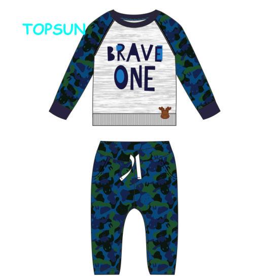 Best Price Autumn Long Sleeve Baby Boys Printed Clothing Pajamas 2 PCS Sleepwear Sets