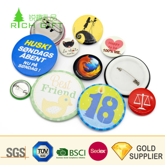Promotional Cheap Wholesale Custom Logo Cmyk Print 25 58mm Glitter Metal Tinplate Pin Maker Bottle Opener Plastic Blank Magnet Cat LED Magnetic Tin Button Badge pictures & photos