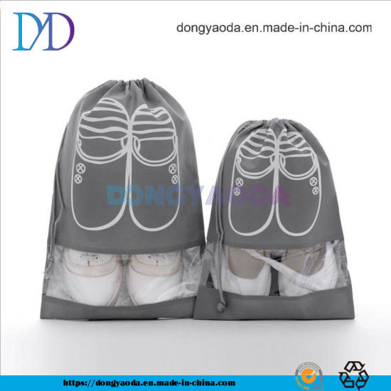Custom PP Non Woven Dustproof Drawstring Shoe Bag with Window