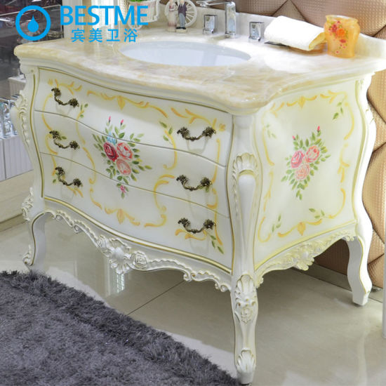 Popular Good Quality Bathroom Oak Wooden Cabinet with Glossy Painting (BY-F8069) pictures & photos