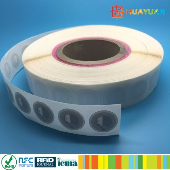 13.56MHz Ntag213 Tamper proof NFC Paper sticker Label in Roll pictures & photos