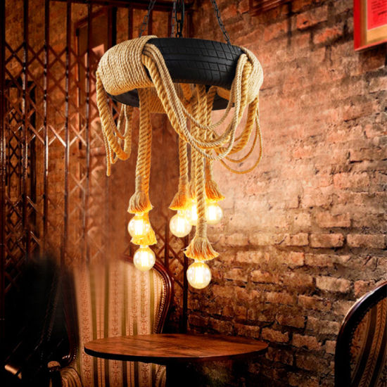 White Tyre Battery Operated Pendant Lights with Hemp Rope pictures & photos