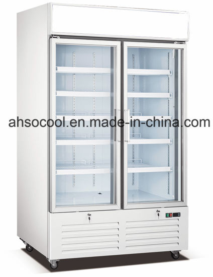 China Commercial Upright Air Cooling Glass Door Freezer China