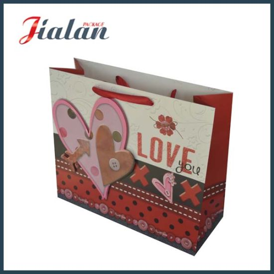210g Ivory Paper Heart Printed High Quality Suqare Paper Bag pictures & photos