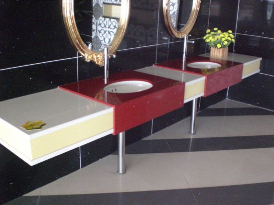 Red Polished Quartz Vanity Top for Bathroom (SC-95) pictures & photos