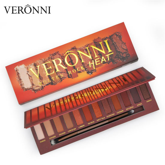 2018 Hot Sale VERONNI I 12 Colors Molten Rock Heat Matte Pigment Eyeshadow Palette pictures & photos
