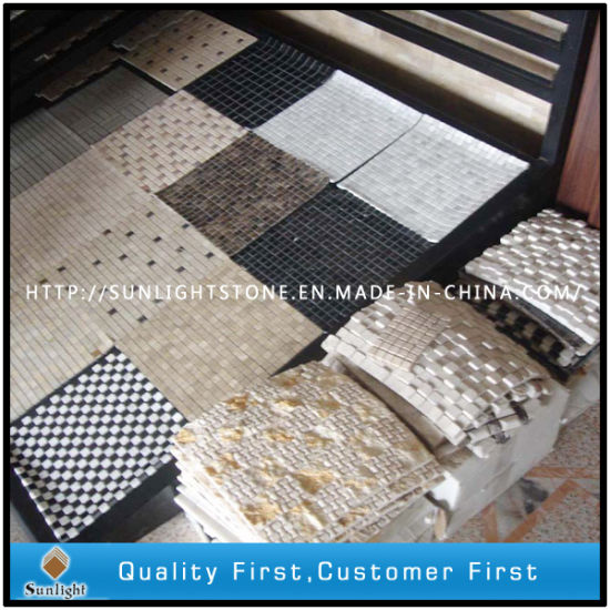 China Cheap White/Green/Black/Yellow Mosaic /Waterjet Travertine / Marbles for Floor Tile Slab pictures & photos