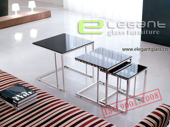 Square Black Painitng Tempered Glass Center Table on Stainless Steel pictures & photos