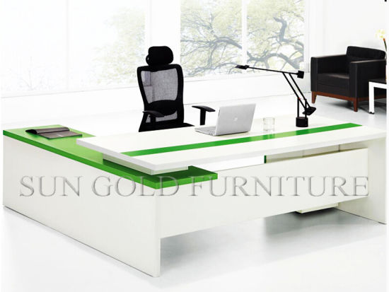 Modern White Green Office Table Design Furniture Set Sz Od478 Pictures