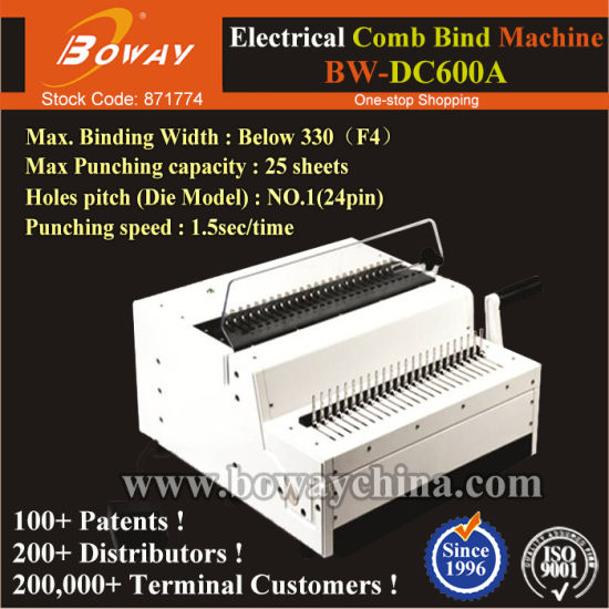24 Pin 25 Paper Sheets Notebook Calender Electrical Electric Comb Binder Binding Machine pictures & photos