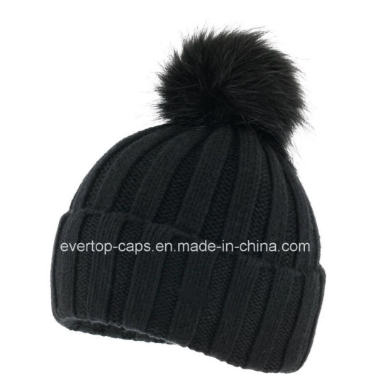 3d590dfd704 China 100% Acrylic Knit Beanie Hat with Fake Fur Pompom - China ...