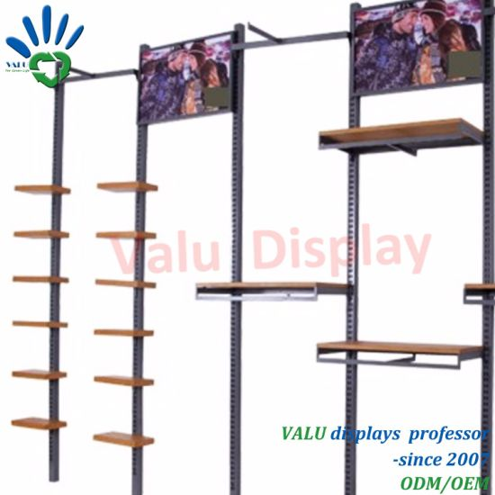 Metal Wood Wall Clothes Display Stand Rack for Clothing Shop Display Furniture
