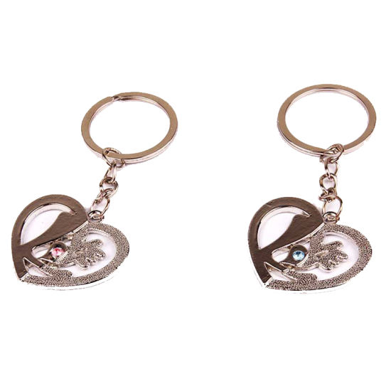 Promotional Silver Metal Cut Hole Key Chain