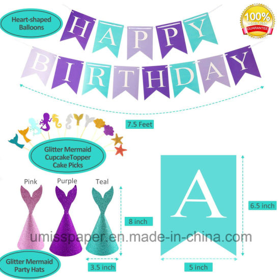 Umiss Paper Fan Happy Birthday Mermaid Party Supplies Decoration