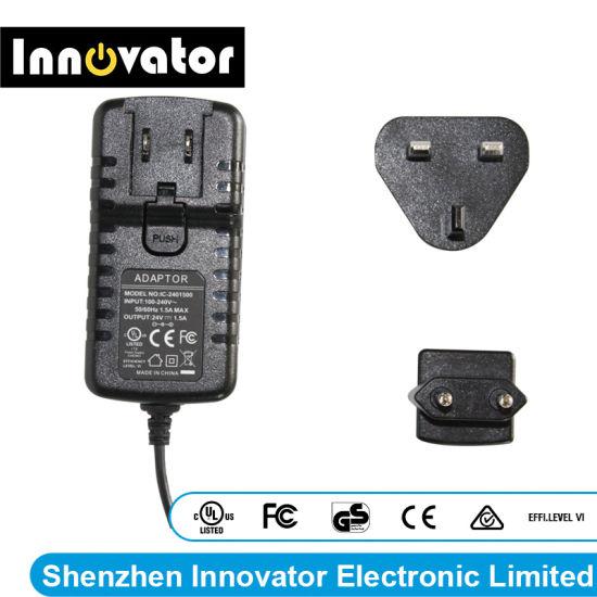 EU UK Us Auk Plug 24V 1.5A 36W Interchangeable AC DC Power Adapter
