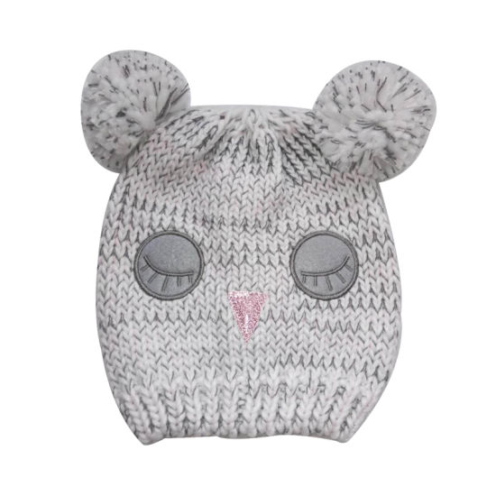 0f56cfde010 Children Winter Fashion Warm Bear Jacquard Embroidery Lurexy Bobble Hat Cap
