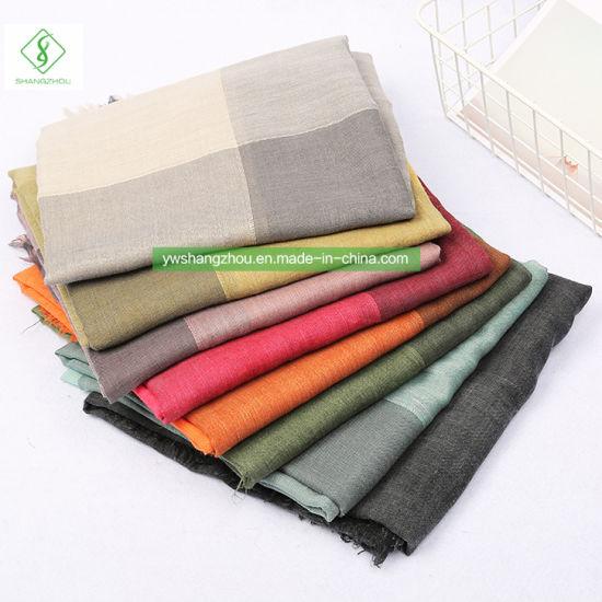 Hot Sale Retro Color Block Scarf Fashion Lady Tie-Dyed Shawl